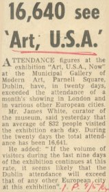Irish Press article entitled, '16,640 see 'Art U.S.A.' [Copyright courtesy of the Irish Press]